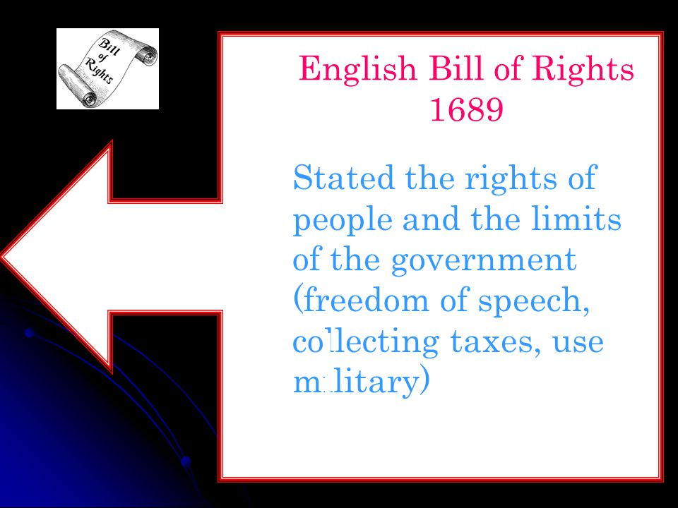 English Bill of Rights 1689 Stated the rights of people and the limits of the government (freedom of speech, collecting taxes, use military)