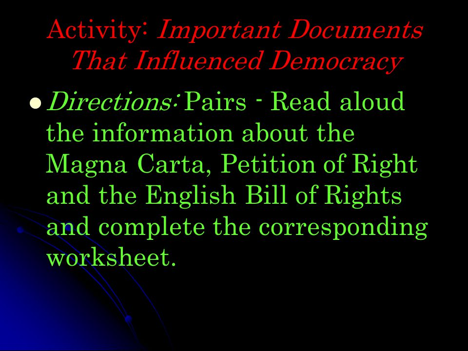 Activity: Important Documents That Influenced Democracy