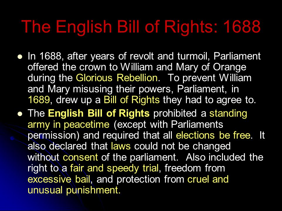 The English Bill of Rights: 1688