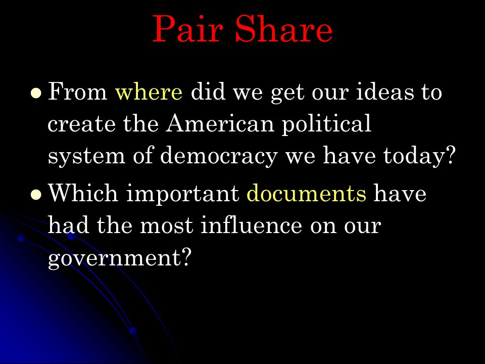 Pair Share From where did we get our ideas to create the American political system of democracy we have today