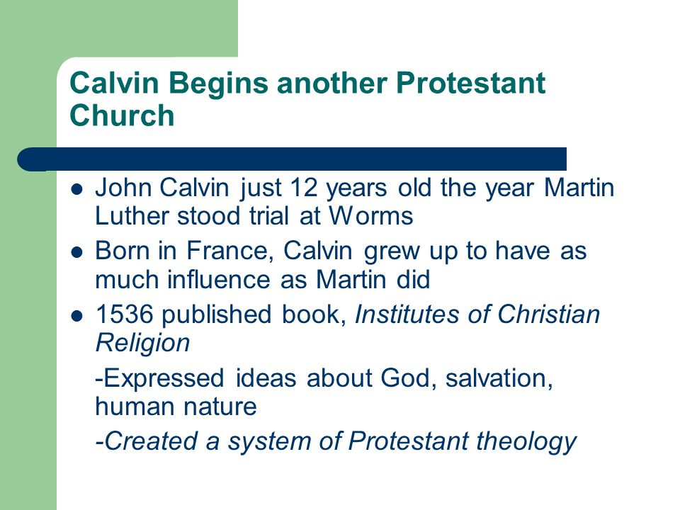 Calvin Begins another Protestant Church
