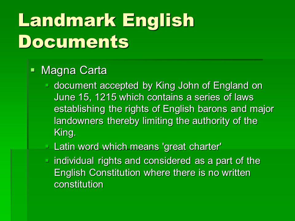 Landmark English Documents