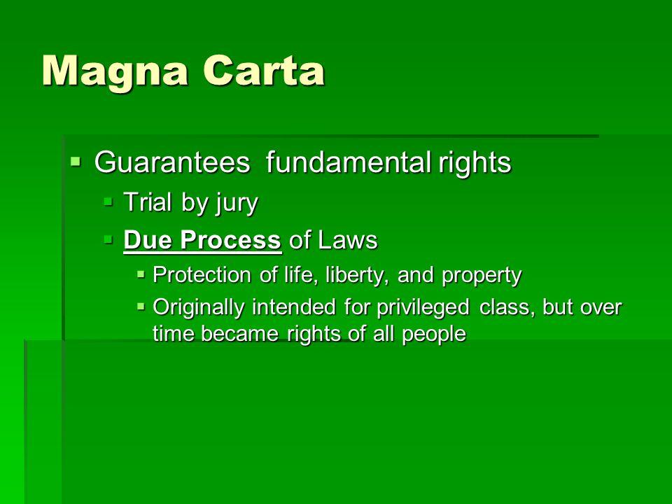 Magna Carta Guarantees fundamental rights Trial by jury