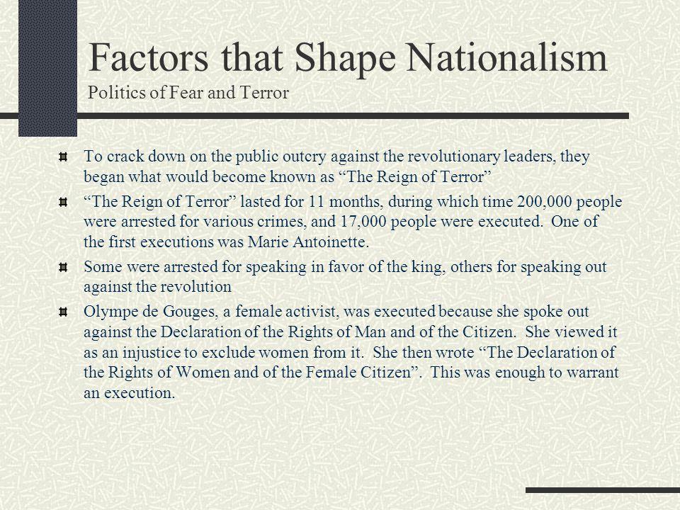 Factors that Shape Nationalism Politics of Fear and Terror