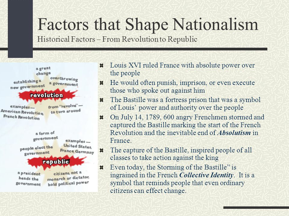 Factors that Shape Nationalism Historical Factors – From Revolution to Republic