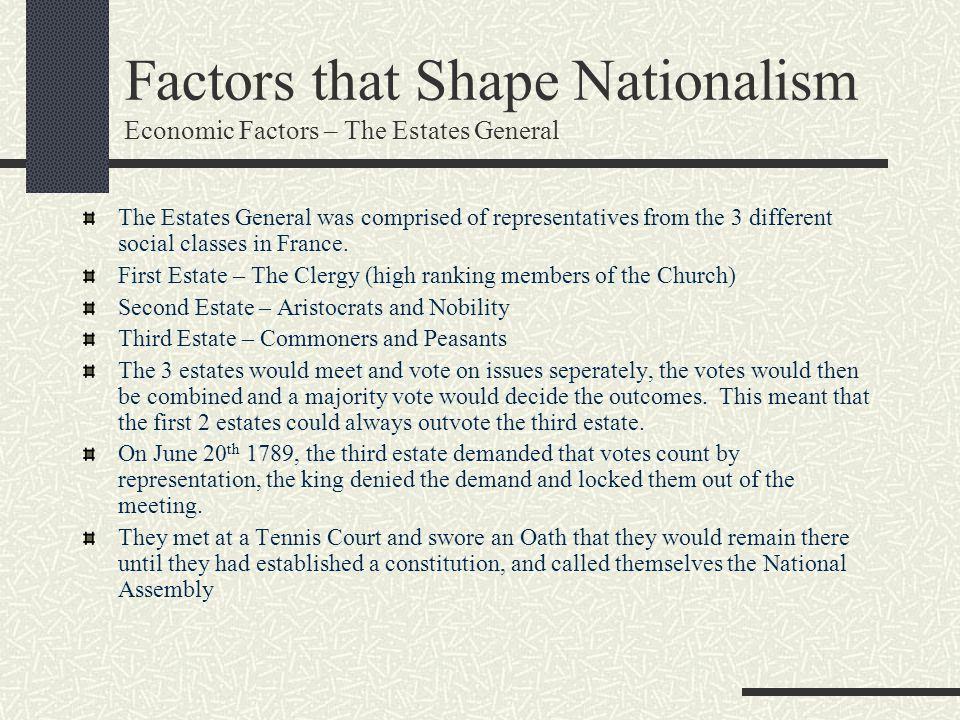 Factors that Shape Nationalism Economic Factors – The Estates General
