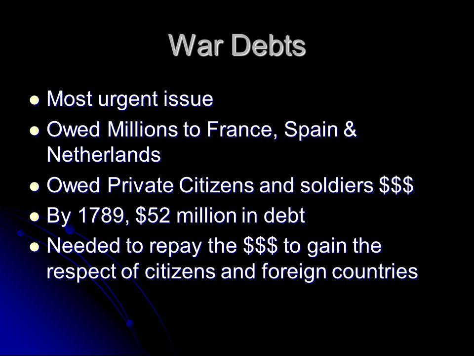 War Debts Most urgent issue