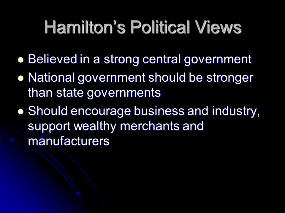 Hamilton's Political Views