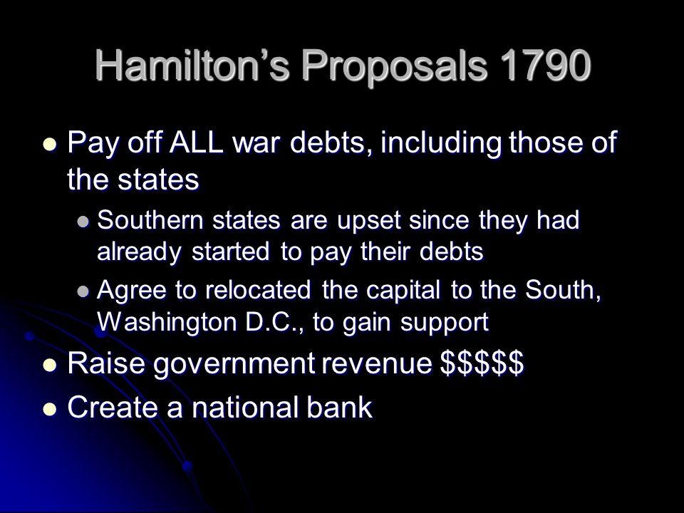 Hamilton's Proposals 1790 Pay off ALL war debts, including those of the states.