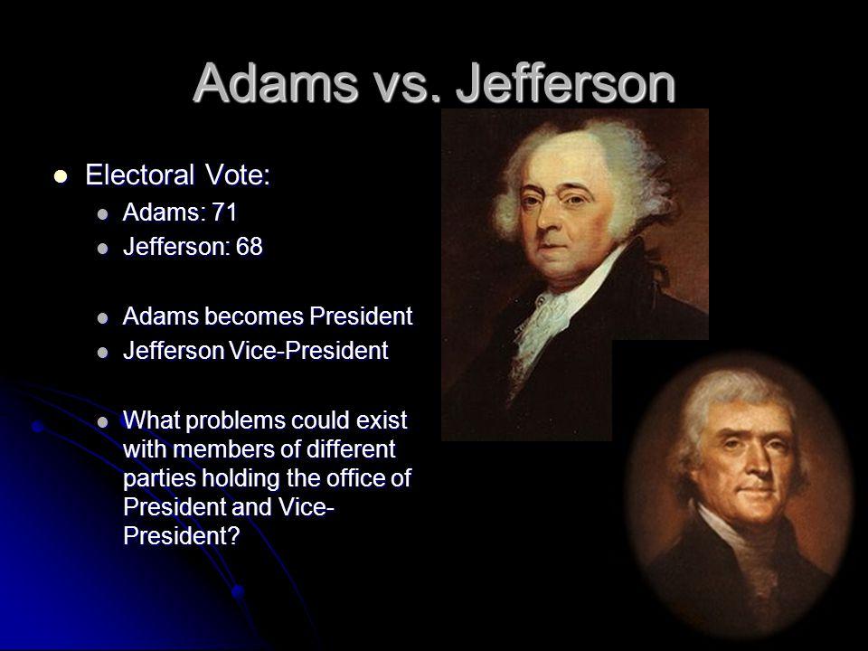 Adams vs. Jefferson Electoral Vote: Adams: 71 Jefferson: 68