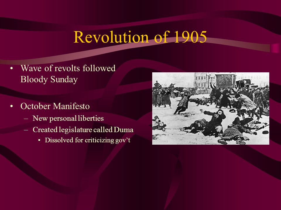 Revolution of 1905 Wave of revolts followed Bloody Sunday