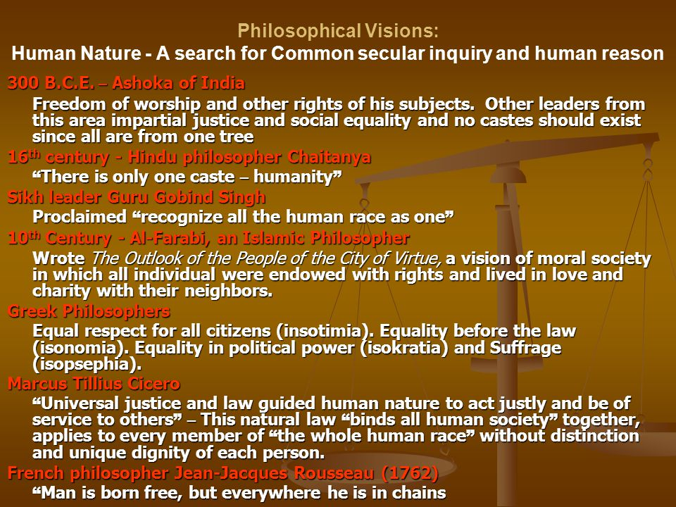 Philosophical Visions: Human Nature - A search for Common secular inquiry and human reason