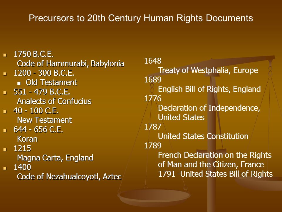 Precursors to 20th Century Human Rights Documents