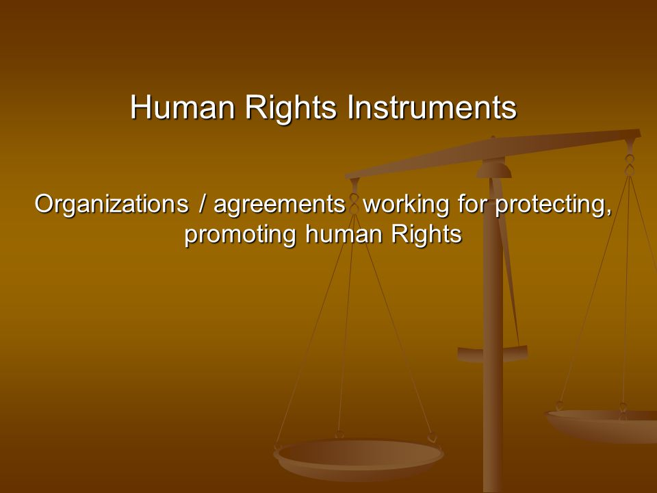 Human Rights Instruments Organizations / agreements working for protecting, promoting human Rights