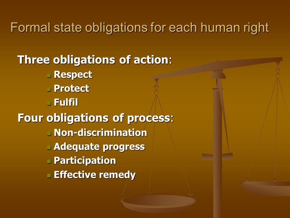 Formal state obligations for each human right