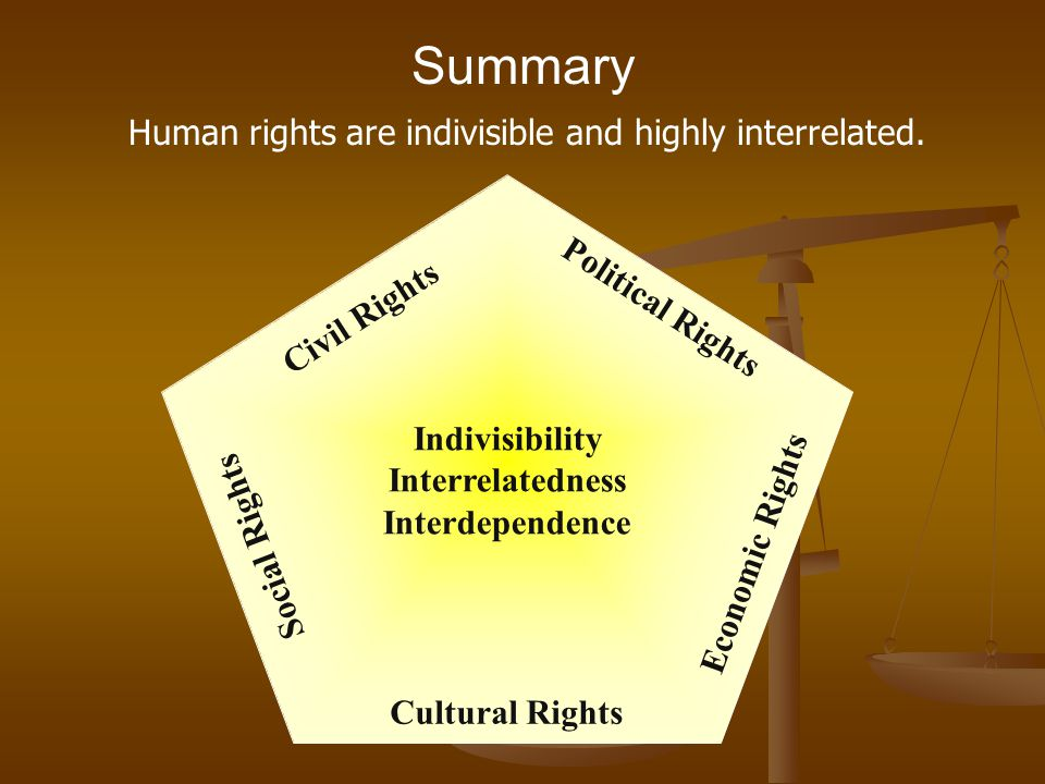 Human rights are indivisible and highly interrelated.