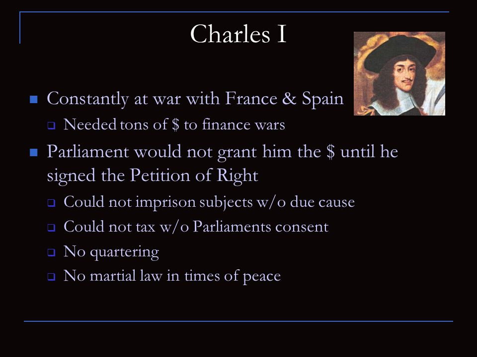 Charles I Constantly at war with France & Spain