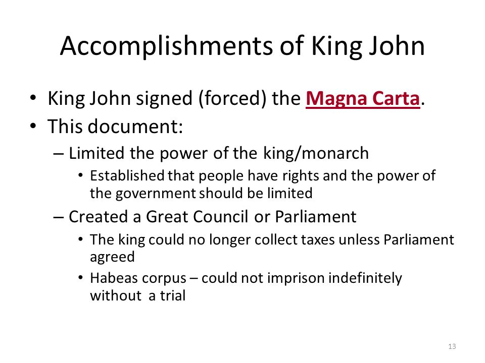 Accomplishments of King John
