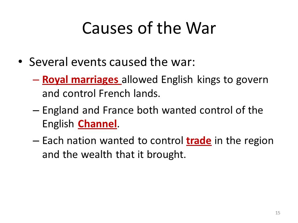 Causes of the War Several events caused the war: