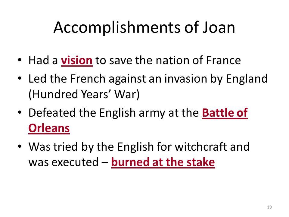 Accomplishments of Joan