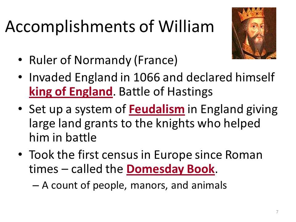 Accomplishments of William