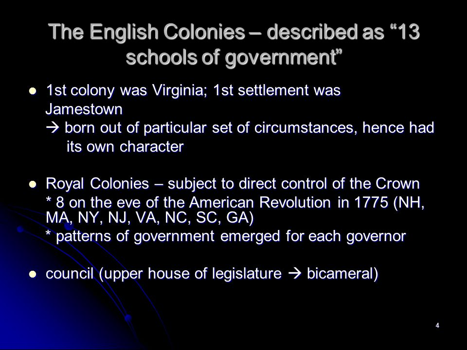 The English Colonies – described as 13 schools of government