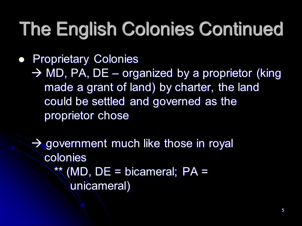 The English Colonies Continued