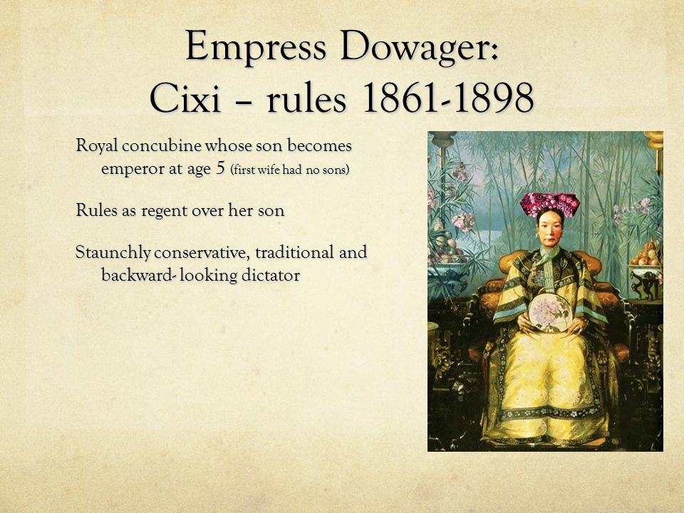 Empress Dowager: Cixi – rules 1861-1898