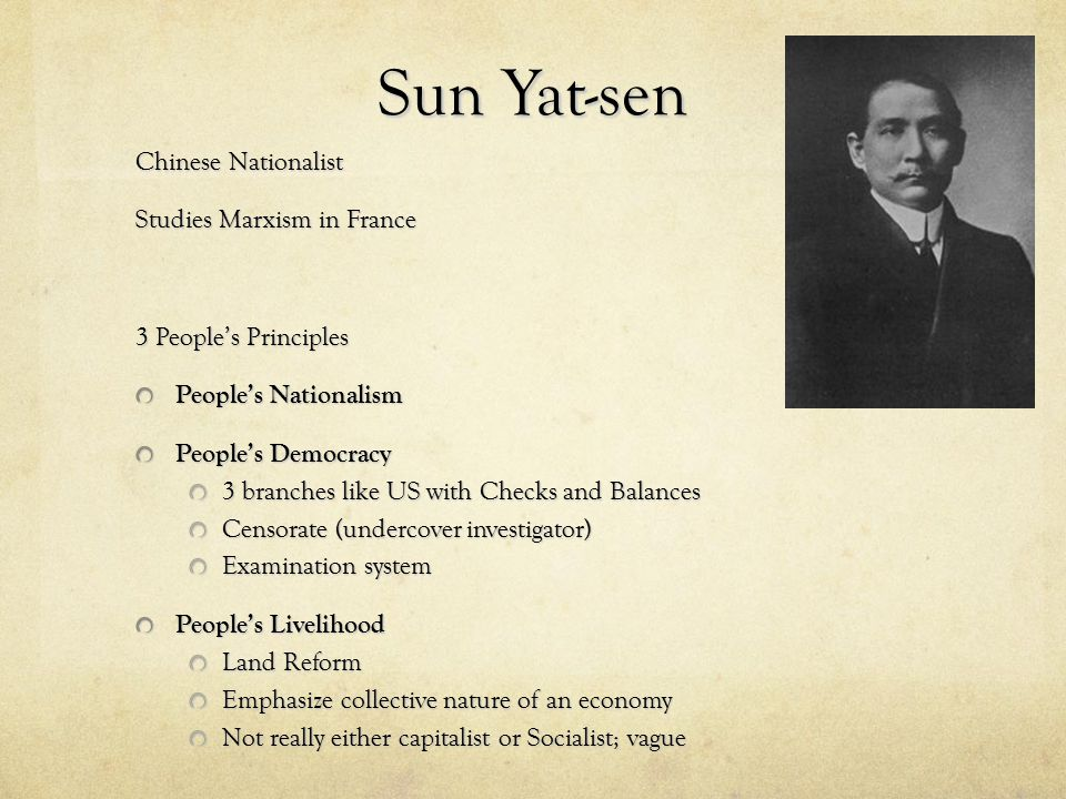 Sun Yat-sen Chinese Nationalist Studies Marxism in France
