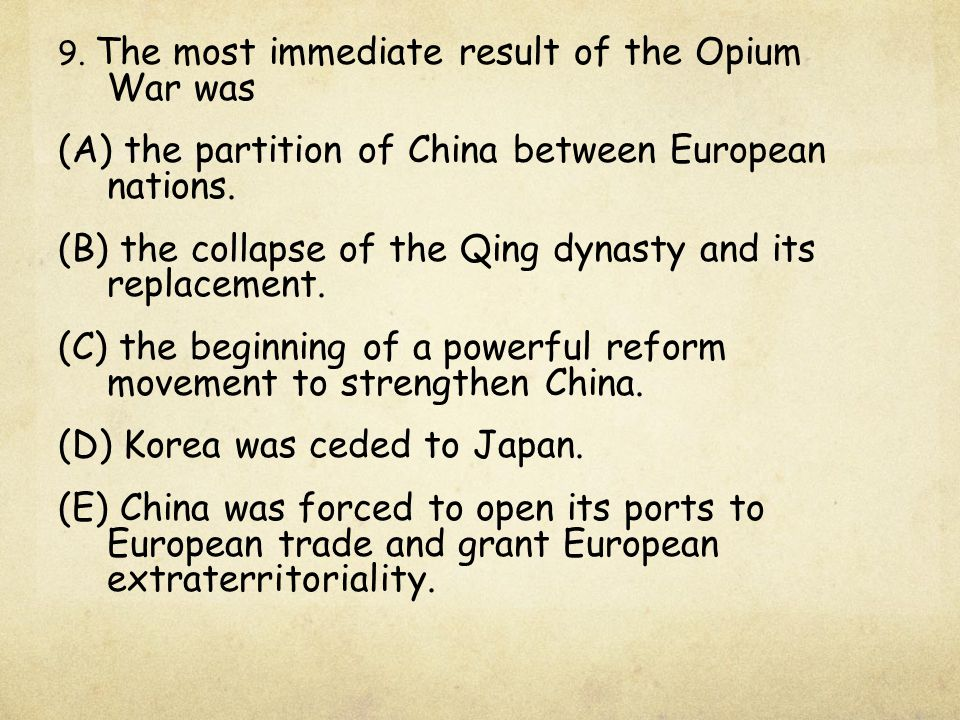 (A) the partition of China between European nations.