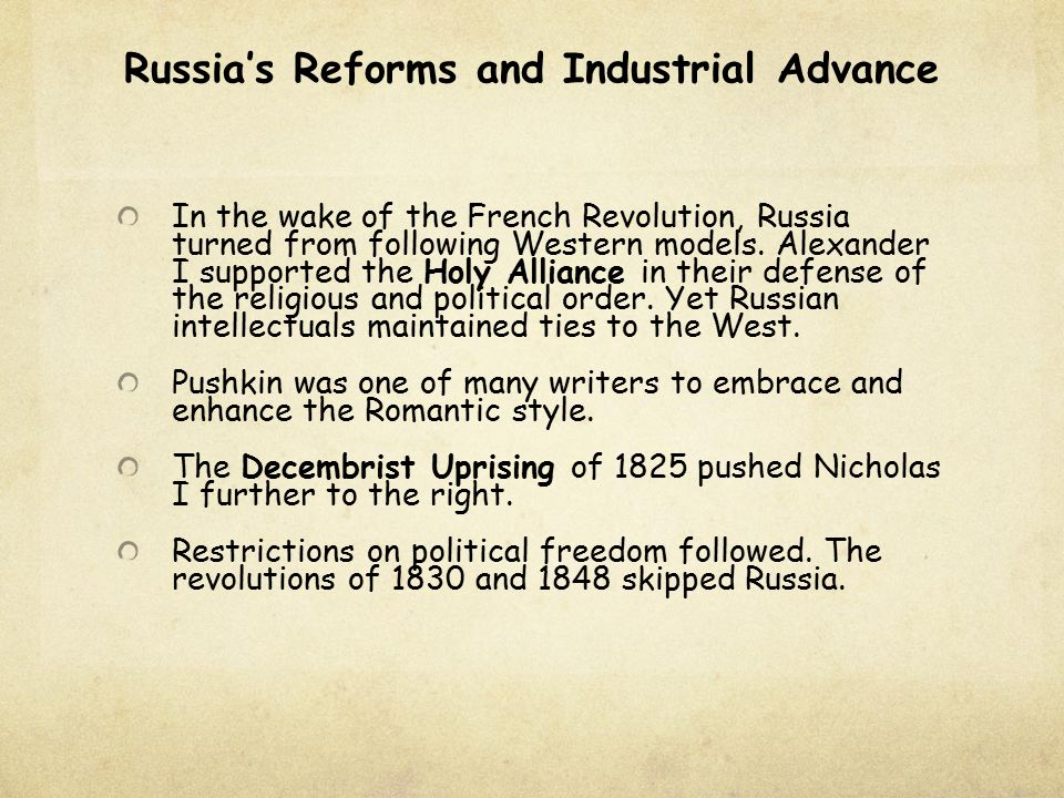 Russia's Reforms and Industrial Advance