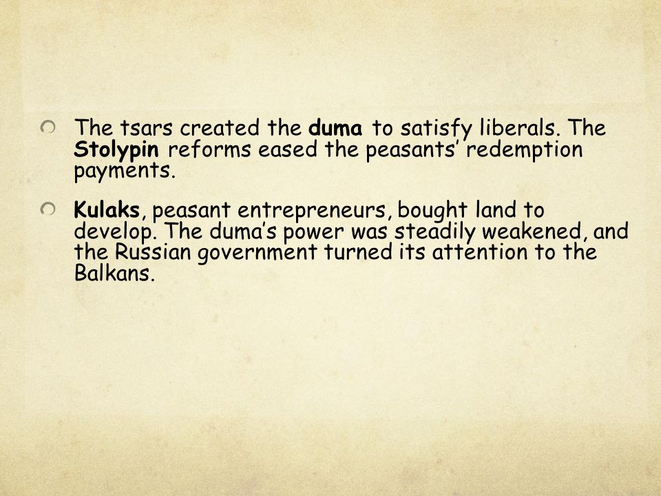 The tsars created the duma to satisfy liberals