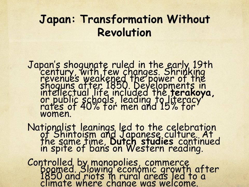 Japan: Transformation Without Revolution