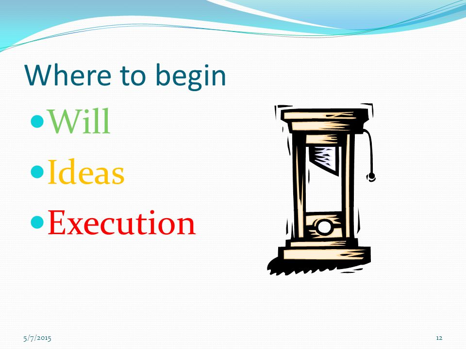 Where to begin Will Ideas Execution 4/14/2017