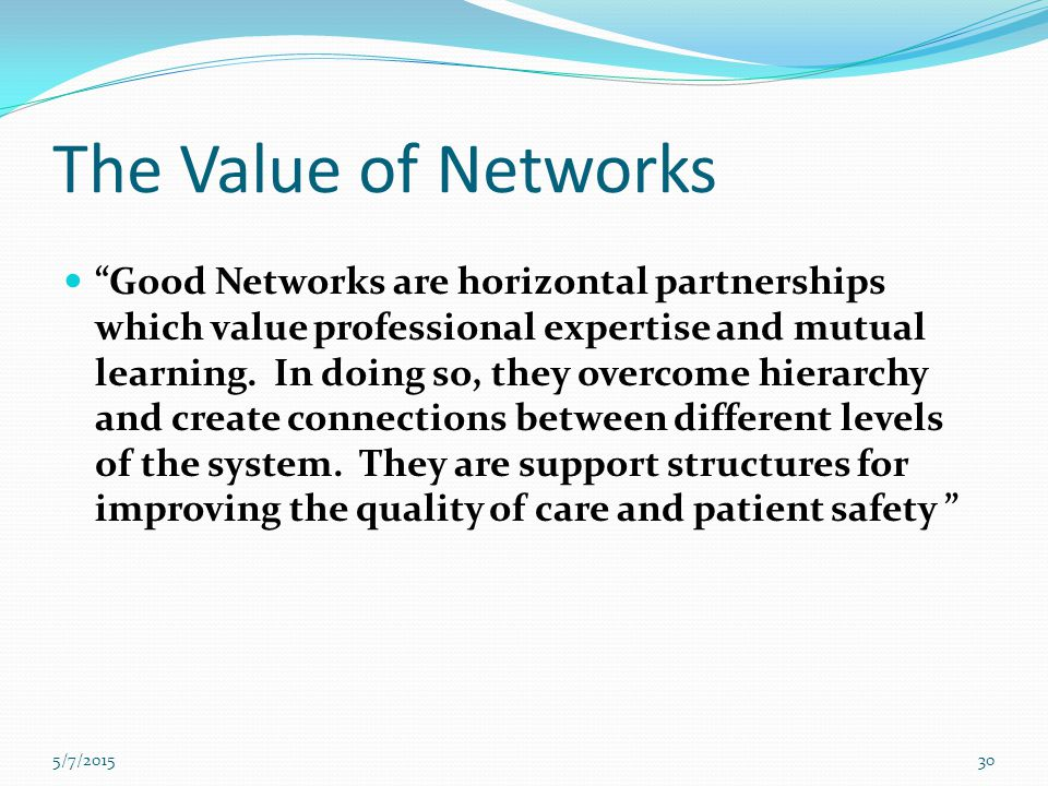 The Value of Networks