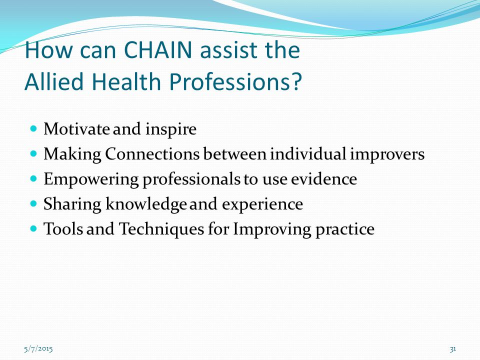 How can CHAIN assist the Allied Health Professions