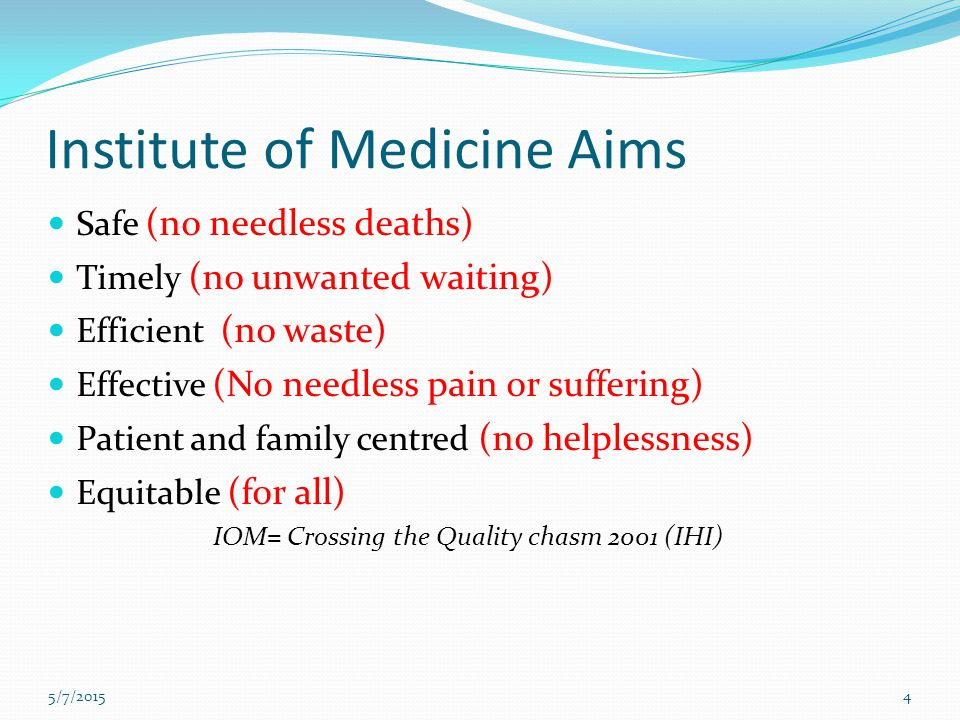 Institute of Medicine Aims