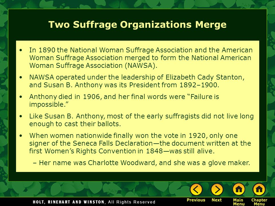Two Suffrage Organizations Merge