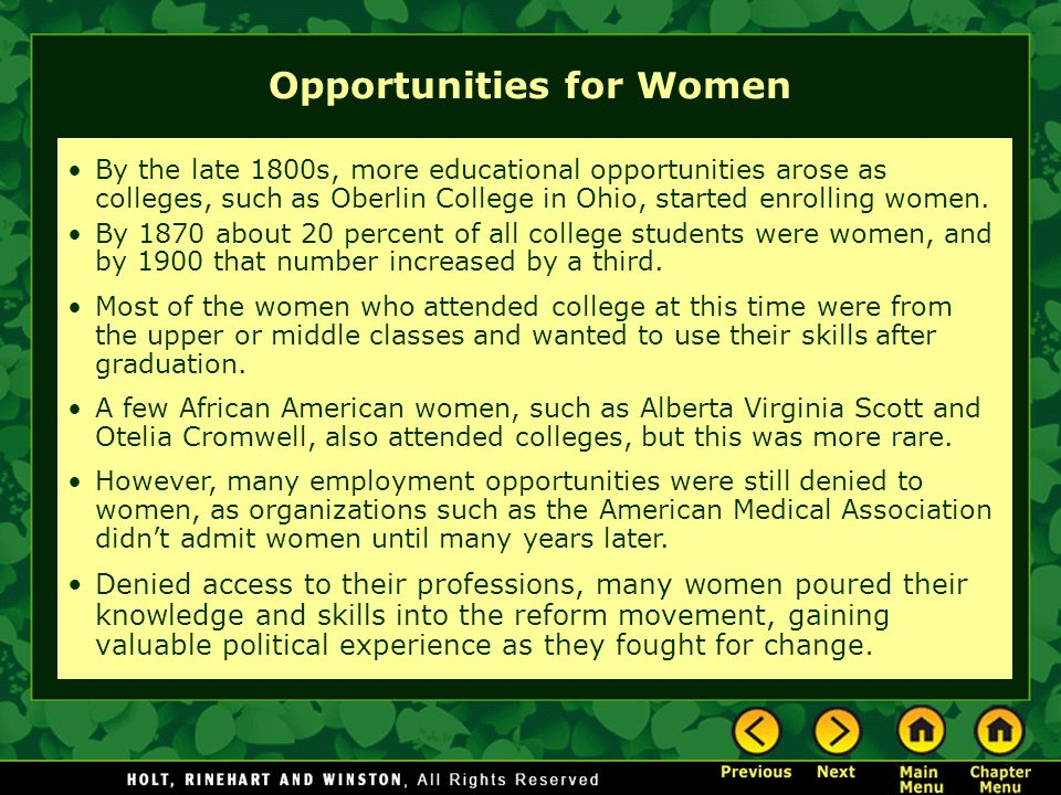 Opportunities for Women