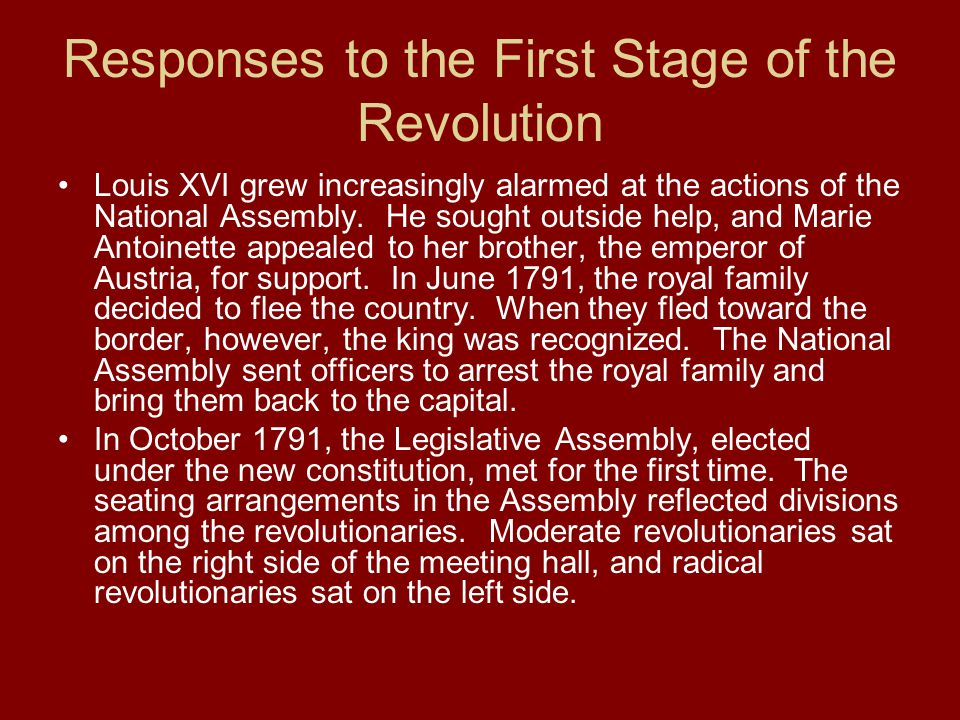 Responses to the First Stage of the Revolution