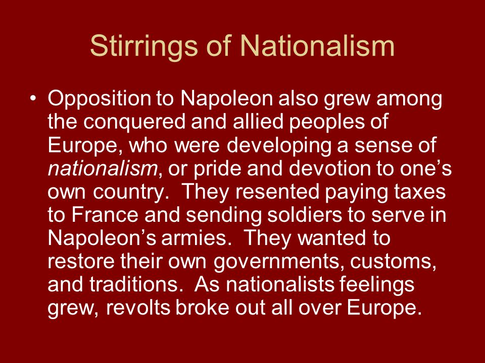 Stirrings of Nationalism