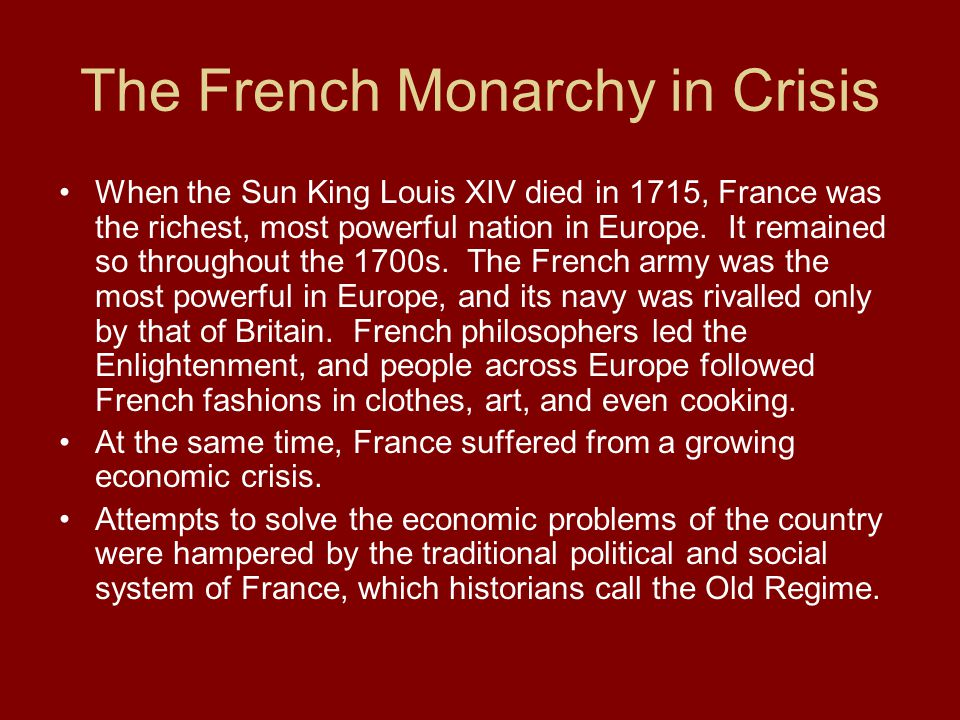 The French Monarchy in Crisis