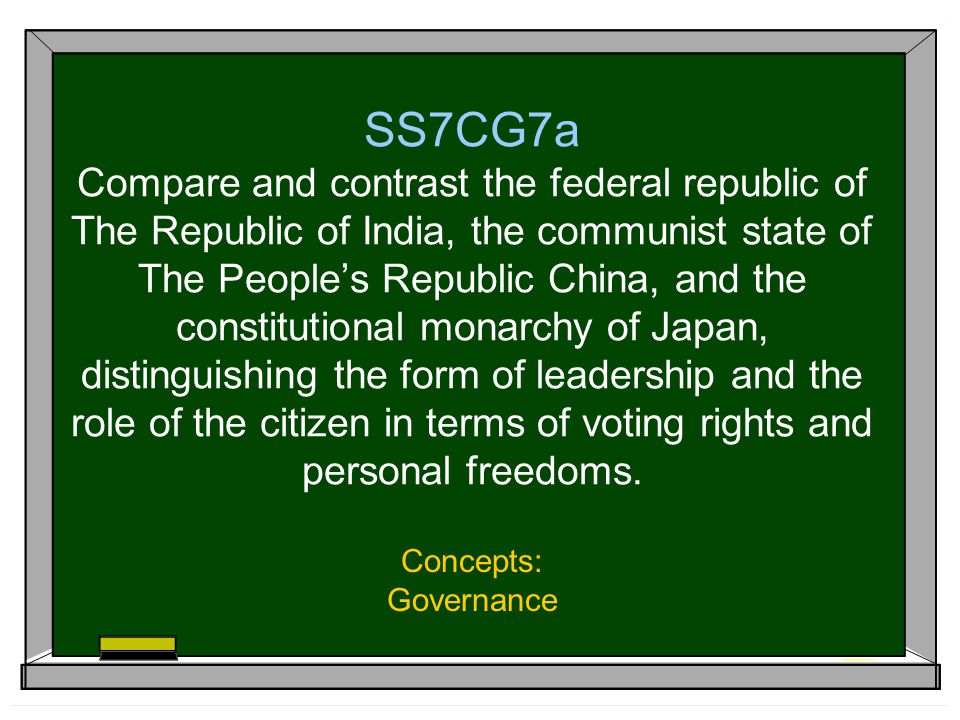 SS7CG7a Compare and contrast the federal republic of The Republic of India, the communist state of The People's Republic China, and the constitutional monarchy of Japan, distinguishing the form of leadership and the role of the citizen in terms of voting rights and personal freedoms.