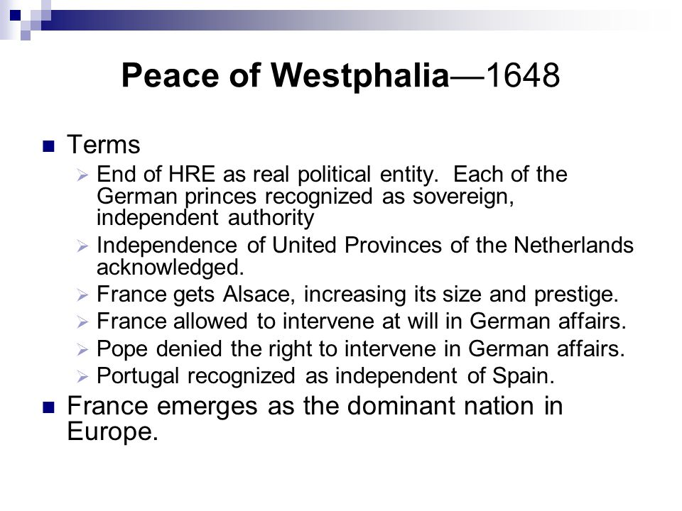 Peace of Westphalia—1648 Terms