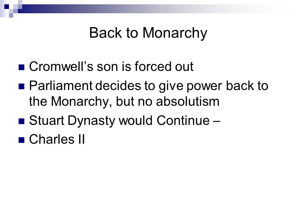 Back to Monarchy Cromwell's son is forced out