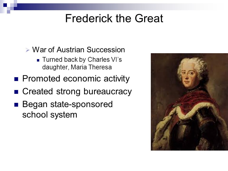 Frederick the Great Promoted economic activity