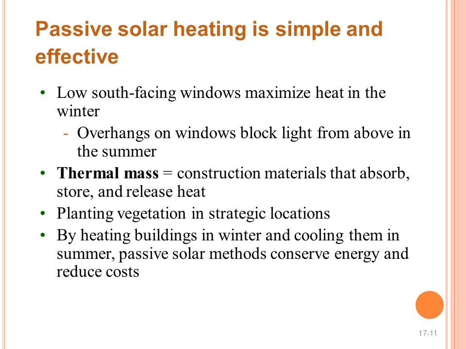 Passive solar heating is simple and effective