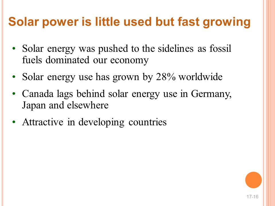 Solar power is little used but fast growing
