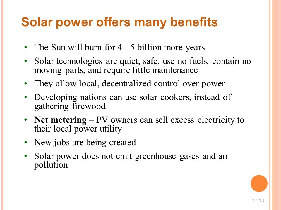 Solar power offers many benefits