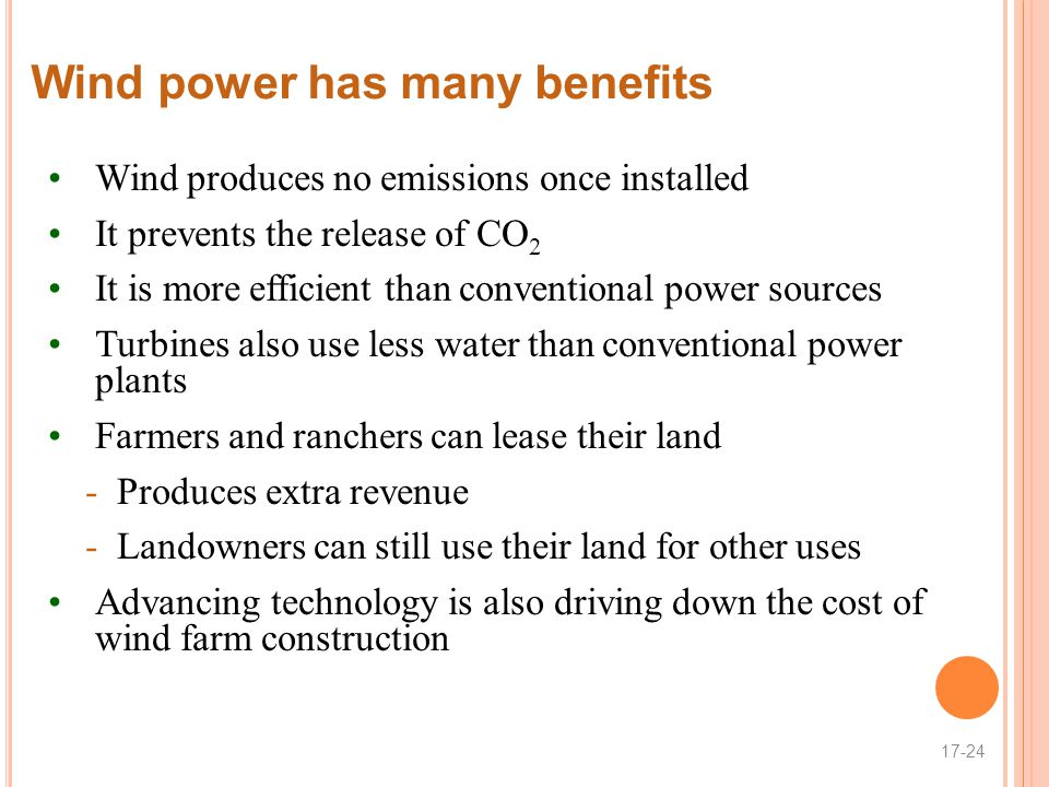 Wind power has many benefits